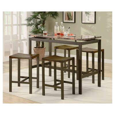 Swigart 5 Piece Pub Table Set Finish: Brown