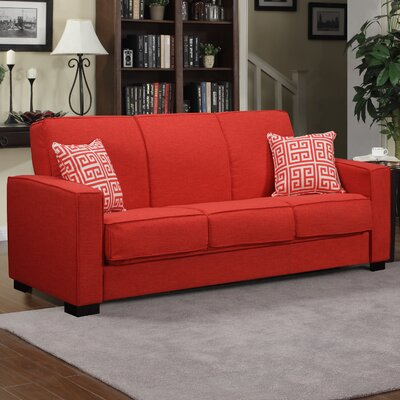 Swiger Convertible Sleeper Sofa Upholstery: Sunrise Red Linen / Greek Key