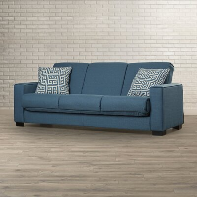 Swiger Convertible Sleeper Sofa Upholstery Color: Blue Linen / Greek Key