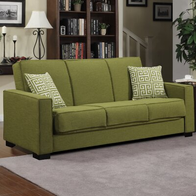 Swiger Convertible Sleeper Sofa Upholstery: Green Linen / Greek Key