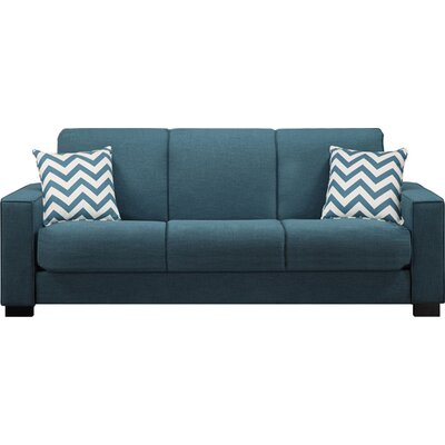 Swiger Convertible Sleeper Sofa Upholstery: Blue Linen / Chevron