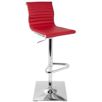 Swihart Adjustable Height Swivel Bar Stool Upholstery: Red