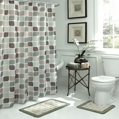 Swinford Geometric 15 Piece Bath Set Color: Sage / Berber