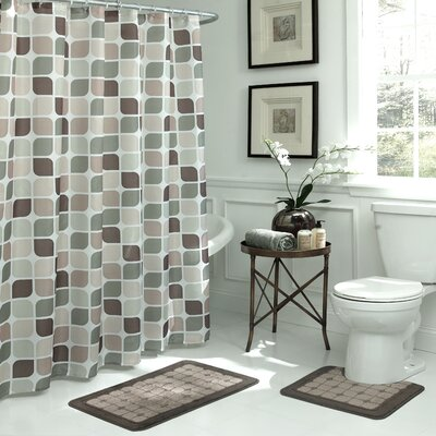 Swinford Geometric 15 Piece Bath Set Color: Linen / Chocolate