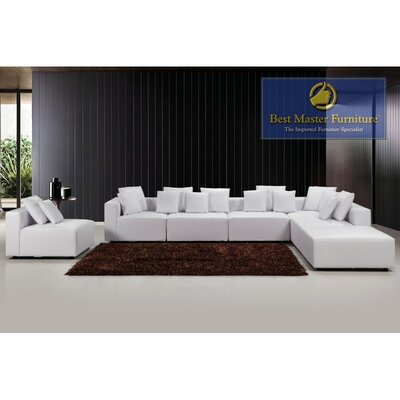 Sykes Leather Modular Sectional Upholstery: White