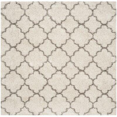 Samira Shag Ivory/Gray Area Rug Rug Size: Square 5