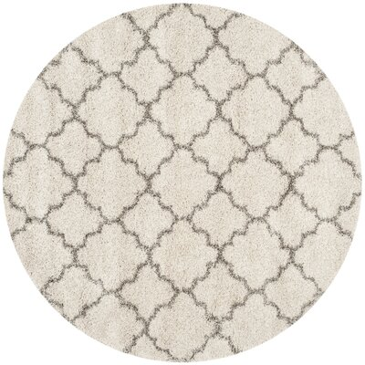 Marco Shag Ivory/Gray Area Rug Rug Size: Round 9