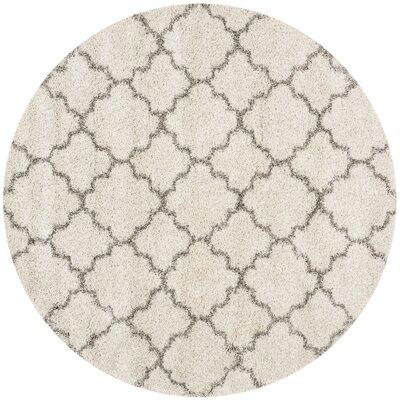 Samira Shag Ivory/Gray Area Rug Rug Size: Round 8
