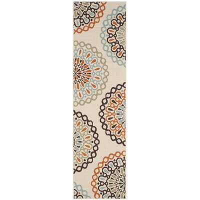 Palma Ivory/Brown Indoor/Outdoor Area Rug Rug Size: Runner 23 x 8