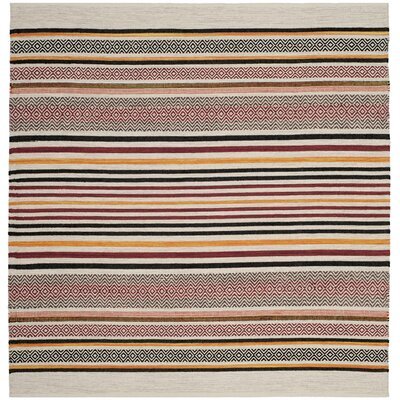 Vasquez Hand-Woven Red/Multi-Colored Area Rug Rug Size: Square 6