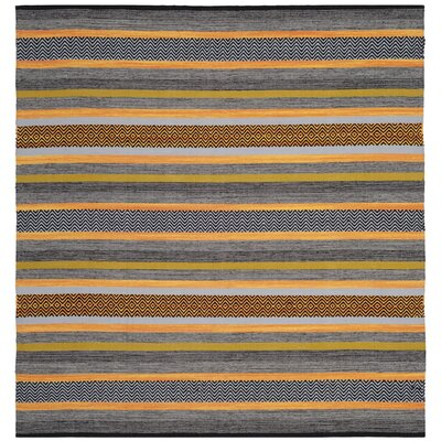Fitzsimmons Hand-Woven Navy/Multi-Colored Area Rug Rug Size: Square 6