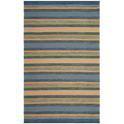 Gaillard Hand-Woven Blue/Orange Area Rug Rug Size: 5 x 8