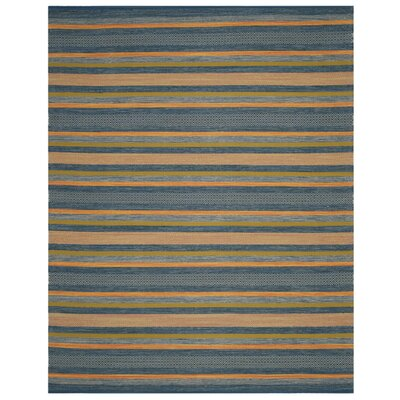Gaillard Hand-Woven Blue/Orange Area Rug Rug Size: Rectangle 8 x 10