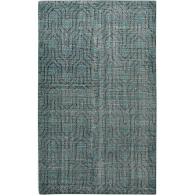 Gartman Geometric Teal Area Rug Rug size: Rectangle 36 x 56