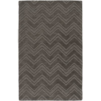 Mcnulty Hand-Loomed Charcoal Area Rug Rug Size: Rectangle 5 x 8