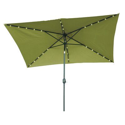6.5' x 10' Destefano Rectangular Illuminated Umbrella Fabric: Light Green
