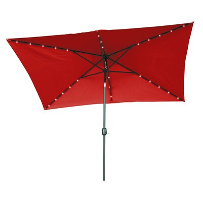 6.5' x 10' Destefano Rectangular Illuminated Umbrella Fabric: Red