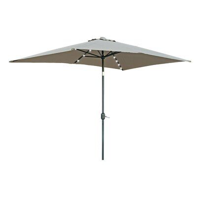 6.5' x 10' Destefano Rectangular Illuminated Umbrella Fabric: Tan