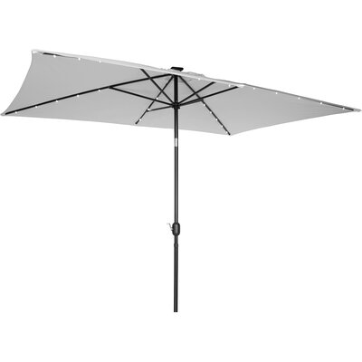 6.5' x 10' Destefano Rectangular Illuminated Umbrella Fabric: Gray