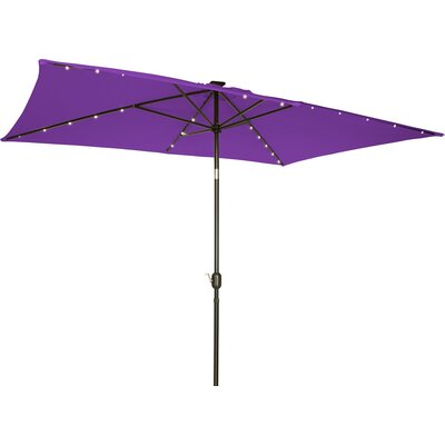 6.5' x 10' Destefano Rectangular Illuminated Umbrella Fabric: Purple