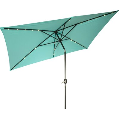 6.5' x 10' Destefano Rectangular Illuminated Umbrella Fabric: Teal