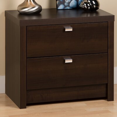 Oleanna Modern 2 Drawer Nightstand Finish: Espresso