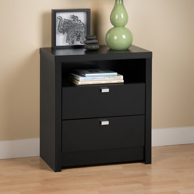 Oleanna 2 Drawer Wood Nightstand Finish: Black
