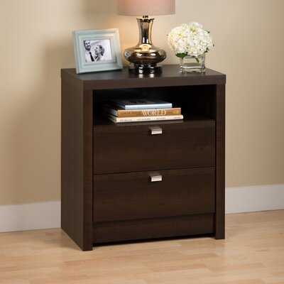 Oleanna 2 Drawer Wood Nightstand Color: Espresso