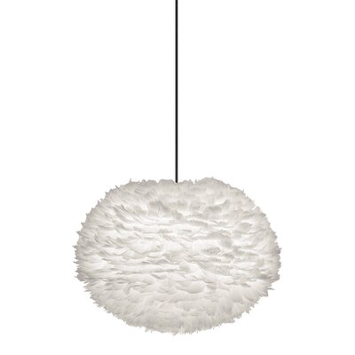Bradway 1-Light Globe Plug-In Pendant Cord / Cable Finish: Black, Shade Color: White, Size: 15.7 H x 25.6 W x 25.6 D