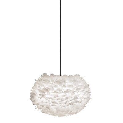Bradway 1-Light Globe Plug-In Pendant Shade Color: White, Cord / Cable Finish: White, Size: 15.7 H x 25.6 W x 25.6 D