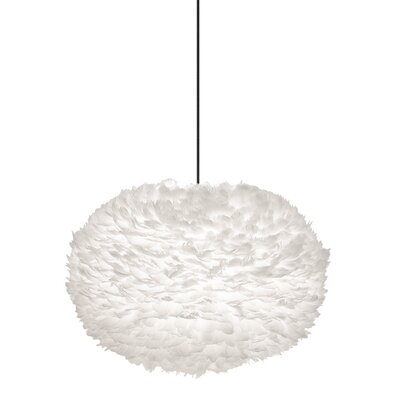 Bradway 1-Light Globe Plug-In Pendant Cord / Cable Finish: Black, Shade Color: White, Size: 17.7 H x 29.5 W x 29.5 D