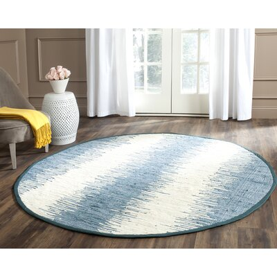 Portsmouth Hand Woven Cotton Blue/Ivory Area Rug Rug Size: Round 4 x 4