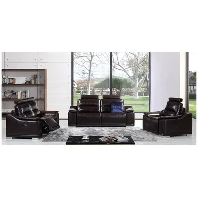 Aaden 3 Piece Leather Living Room Set Upholstery: Brown