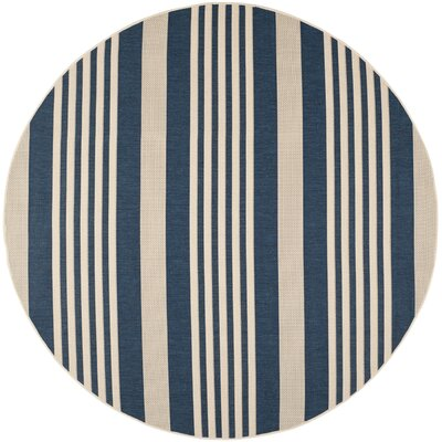 Sophina Navy/Beige Indoor/Outdoor Area Rug Rug Size: Round 7'10