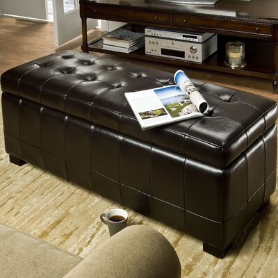 Sinope Leather Storage Entryway Bench