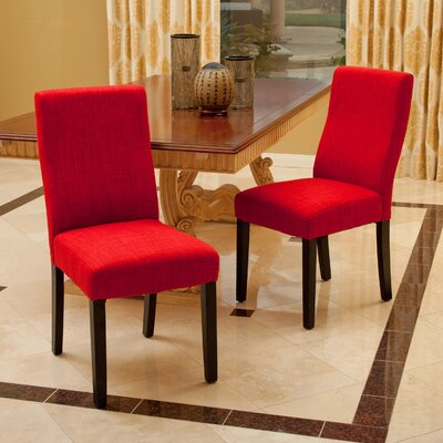 Caverly Parsons Dining Chair Upholstery: Red