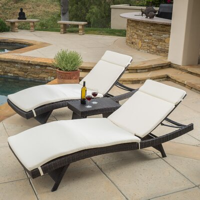 Ardoin 3 Piece Chaise Lounge Set with Cushion Fabric: Beige