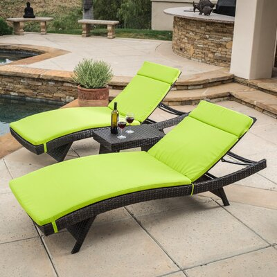 Ardoin 3 Piece Chaise Lounge Set with Cushion Fabric: Green