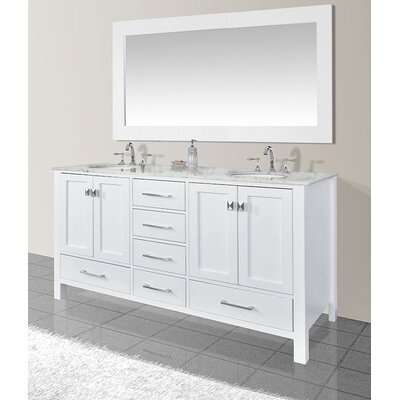 Ankney 72 Double Sink Bathroom Vanity with Mirror