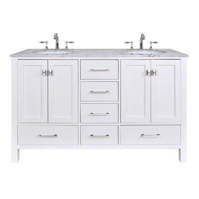 Ankney 60 Double Bathroom Vanity Set Base Finish: Pure White