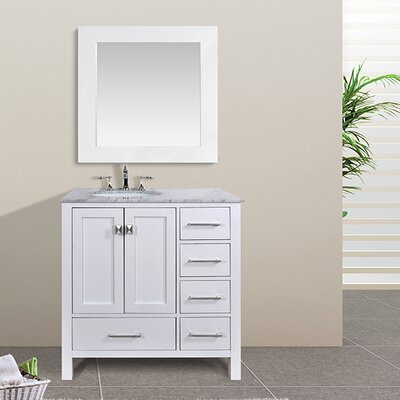 Ankney 36 Single Bathroom Vanity Set with Mirror Base Finish: Pure White