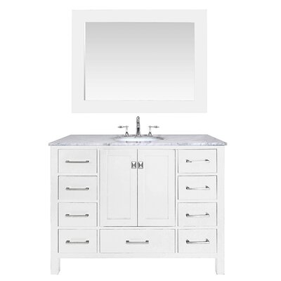Ankney 48 Single Bathroom Vanity Set with Mirror Base Finish: Pure White