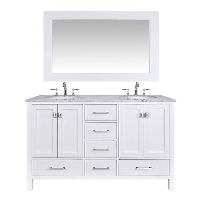 Ankney 60 Double Bathroom Vanity Set with Mirror Base Finish: Pure White