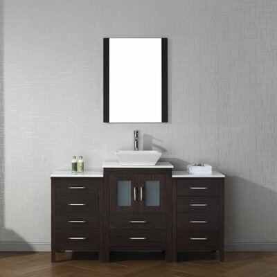 Frausto 60 Single Bathroom Vanity Set with White Stone Top and Mirror Base Finish: Espresso