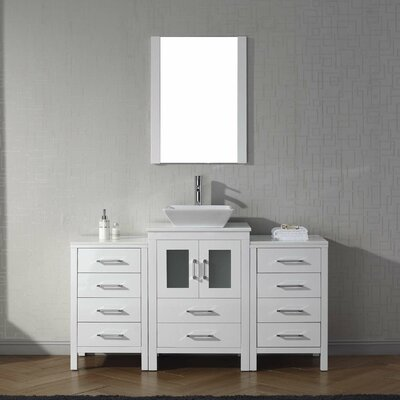 Cartagena 60 Single Bathroom Vanity Set with White Stone Top and Mirror Base Finish: White