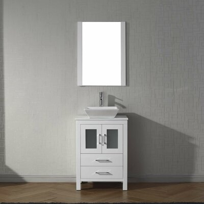 Cartagena 25 Single Bathroom Vanity Set with White Stone Top and Mirror Base Finish: White