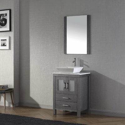 Frausto 25 Single Bathroom Vanity Set with White Stone Top and Mirror Base Finish: Zebra Gray