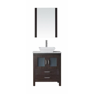 Frausto 25 Single Bathroom Vanity Set with White Marble Top and Mirror Base Finish: Espresso