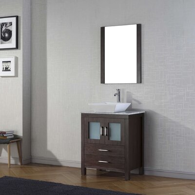 Cartagena 25 Single Bathroom Vanity Set with White Marble Top and Mirror Base Finish: Espresso