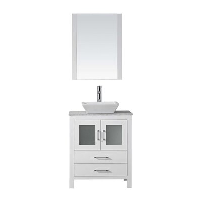 Frausto 25 Single Bathroom Vanity Set with White Marble Top and Mirror Base Finish: White